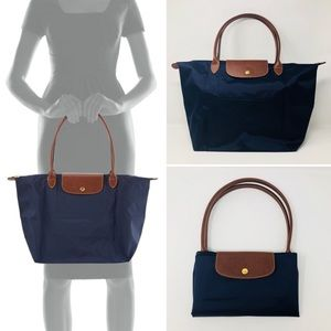 LONGCHAMP LARGE LE PLIAGE (NAVY) TOTE BAG
